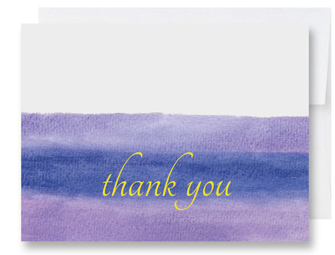 Folded Custom Purple Watercolors Thank You Card
