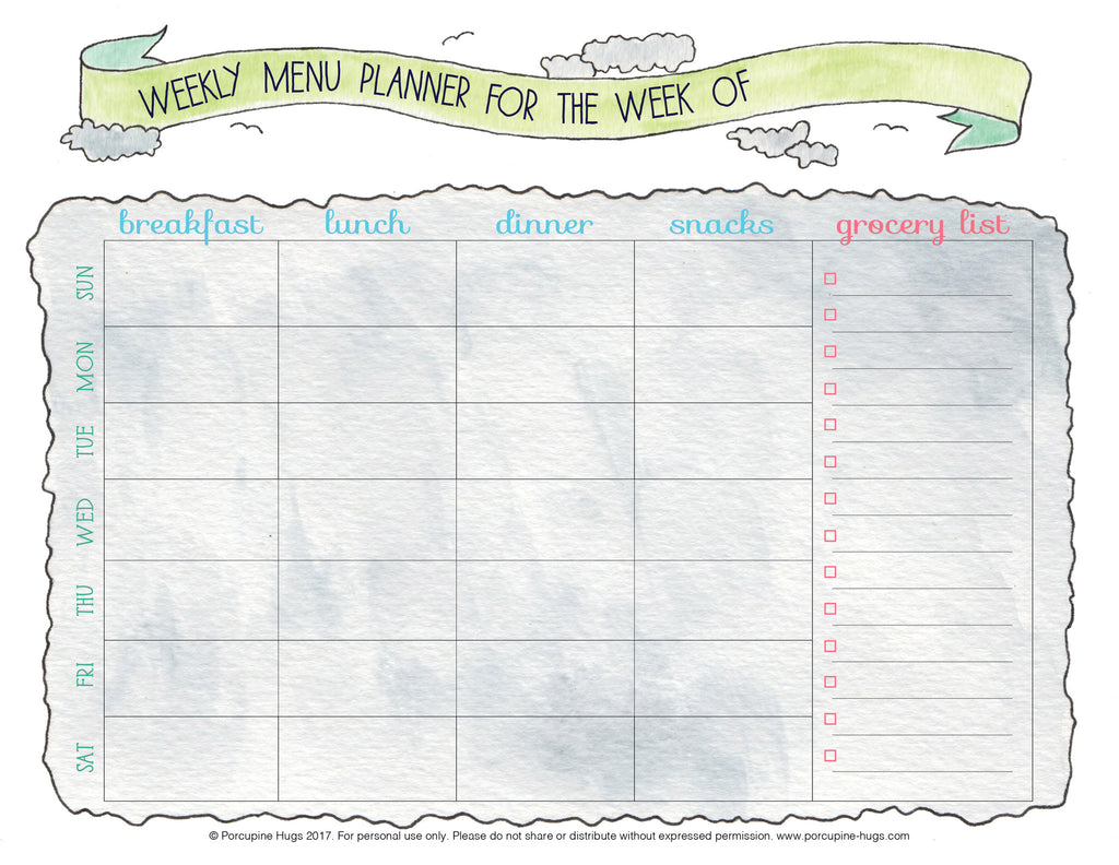 graphic regarding Weekly Menu Planner Printable identify Weekly Menu Planner Printable - Porcupine Hugs