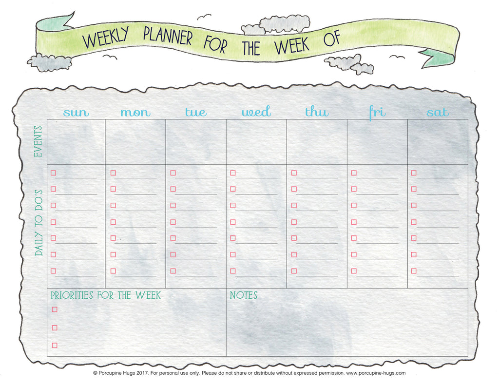 graphic relating to Weekly Printable named Weekly Planner Printable - Porcupine Hugs
