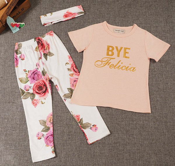 """Bye Felicia"" 3 piece outfit with Floral pants and headband"