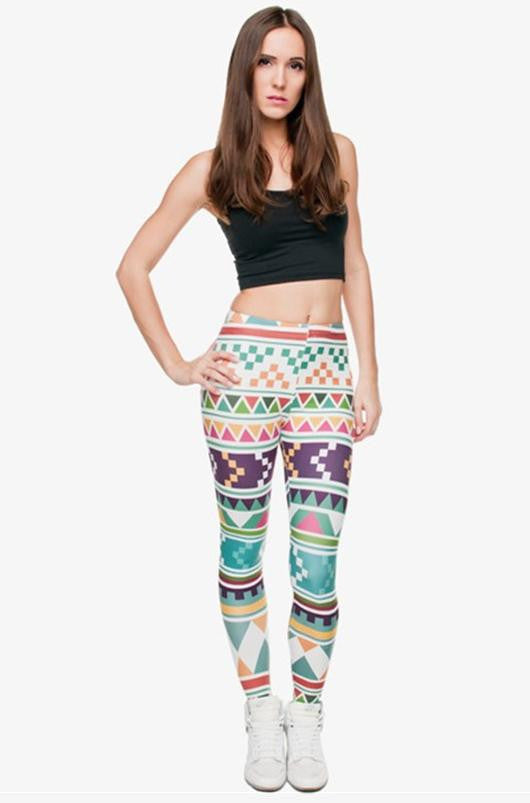 SEXY AZTECA PRINT HIGH WAIST LEGGINGS 11