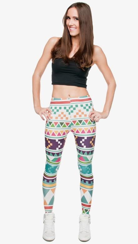 SEXY AZTECA PRINT HIGH WAIST LEGGINGS 12