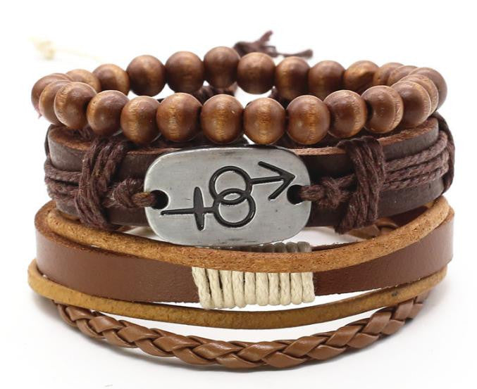 CUFF WRAP LEATHER CHARM BRACELET