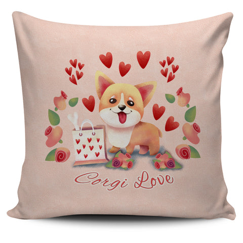 Corgi Love Pillow Cover Set Beige, Pink, Lilac and Blue