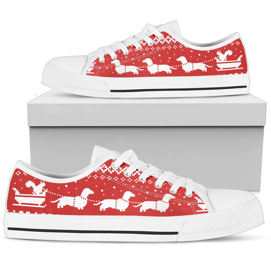 Dachshund Lovers Christmas Women's Low Top Shoes White