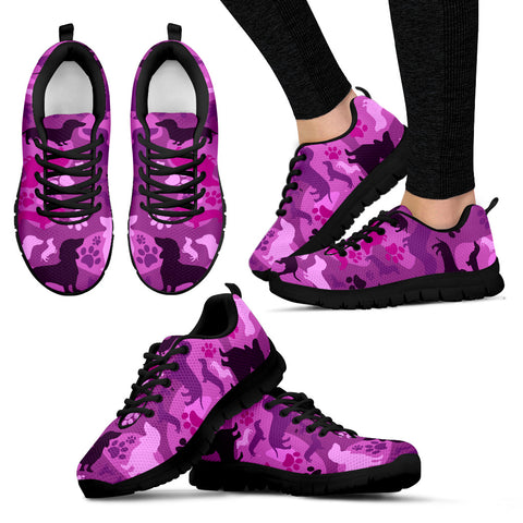 Dachshund Pink Camo Women's Sneakers for Lovers of Dachshunds