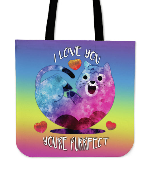 I Love You You're Purrfect Tote Bag for Cat Lovers