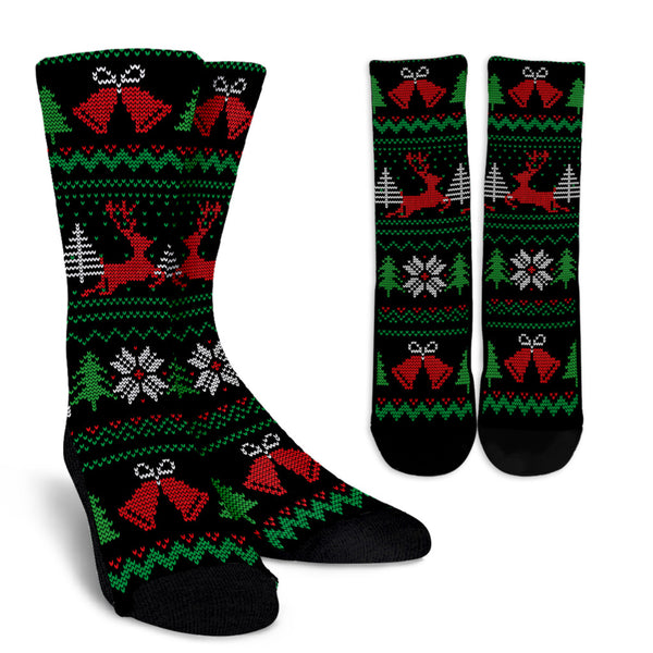 Christmas Knitted Pattern Black Red and Green Socks