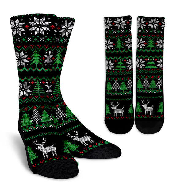 Christmas Knitted Pattern Green and Black Socks
