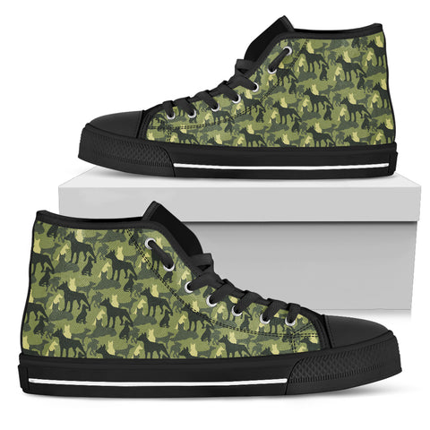 Camo Doberman Dogs Military Men's High Top Shoes with Camouflage Dobermans
