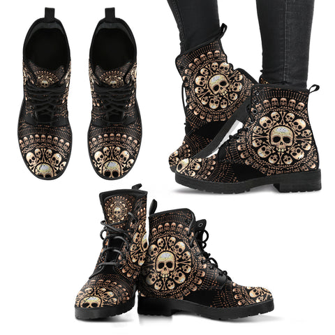 Skulls Bones Women's Vegan Leather Boots - Black