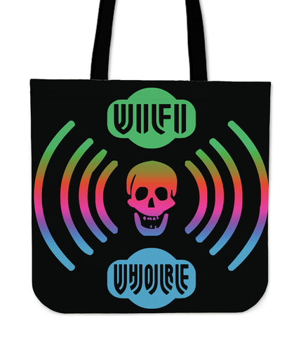 Wi Fi W H O R E Tote Bag with Skull Transmitting Vibes