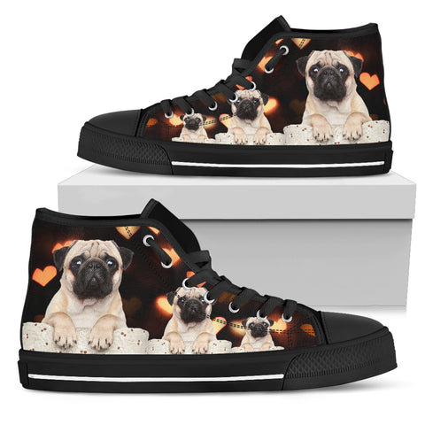 Pugs Are Lovely Men's High Top Shoes for Pug Lovers
