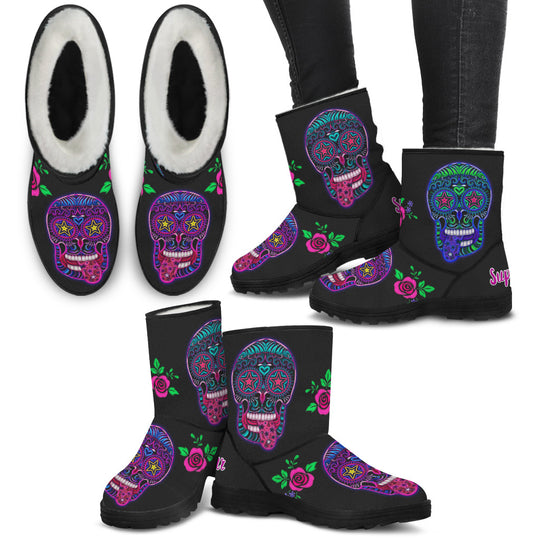Sugar Skull Superstar Faux Fur Boots