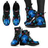Faithful Poodles Blue Vegan Leather Boots for Men and Women Poodle Dog Lovers