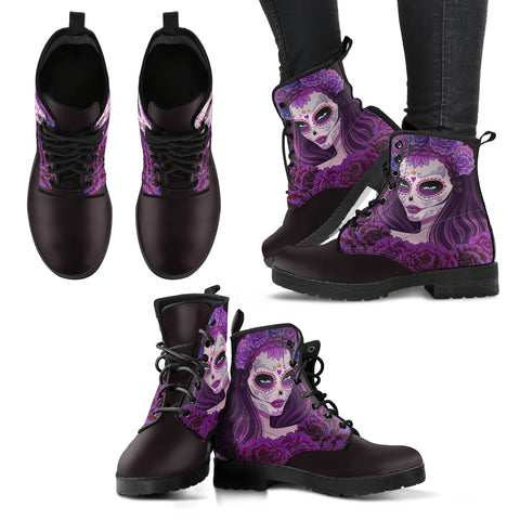 Women's Sugar Skull Handcrafted Vegan Leather Boots