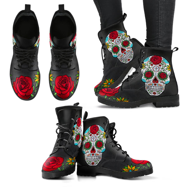 Sugar Skull Roses Women's Vegan Leather Boots