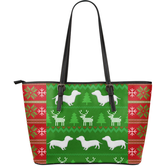 Ugly Christmas Sweater Large Leather Tote Bag With Dachshunds