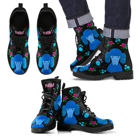 Faithful Poodles Blue Leather Boots for Men and Women Poodle Dog Lovers