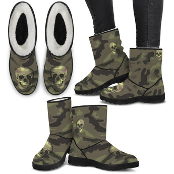 Camo Skull Faux Fur Boots Camouflage with Skulls
