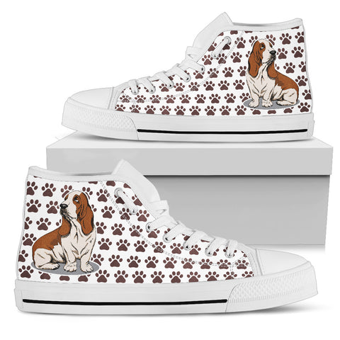 Basset Hound Dogs Women's High Top Shoes White