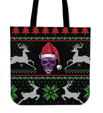 Ugly Christmas Santa Skull Tote Bag