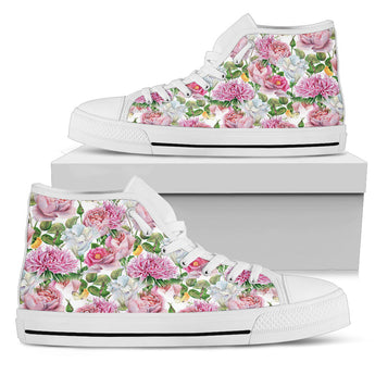 Watercolor Floral Women's High Top Shoes
