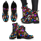 Sugar Skull Party Vegan Leather Boots in Sizes for Men and Women