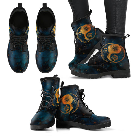 Yin Yang Sun and Moon Handcrafted Vegan Leather Boots