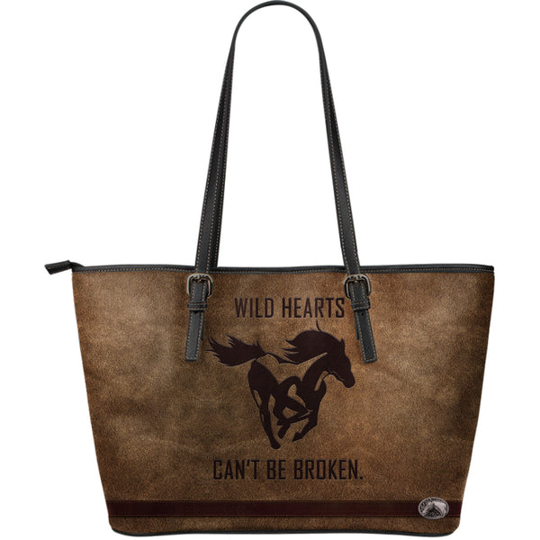Wild Hearts Can't Be Broken Awesome Horse Large Leather Tote Bag