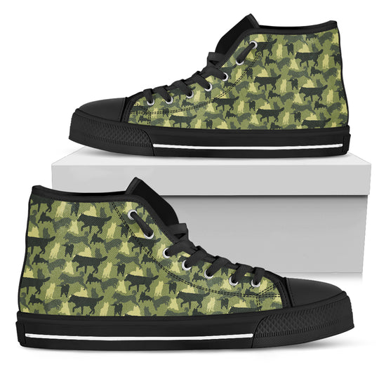 Camouflage Siberian Husky Women's High Top