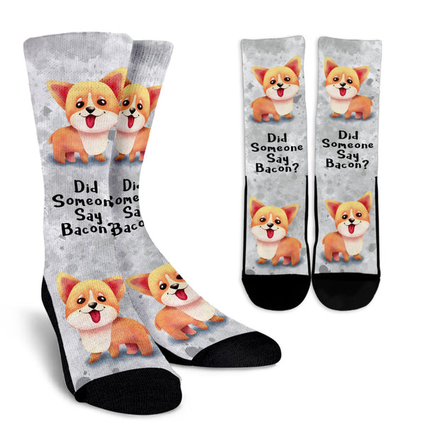 Did Someone Say Bacon Corgi Dog Socks
