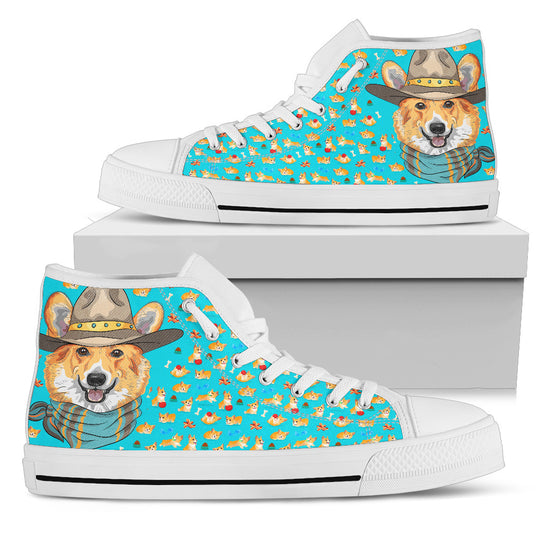 Cute Corgi Pattern Women's High Top