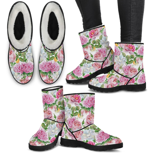 Watercolor Floral Women's Faux Fur Boots