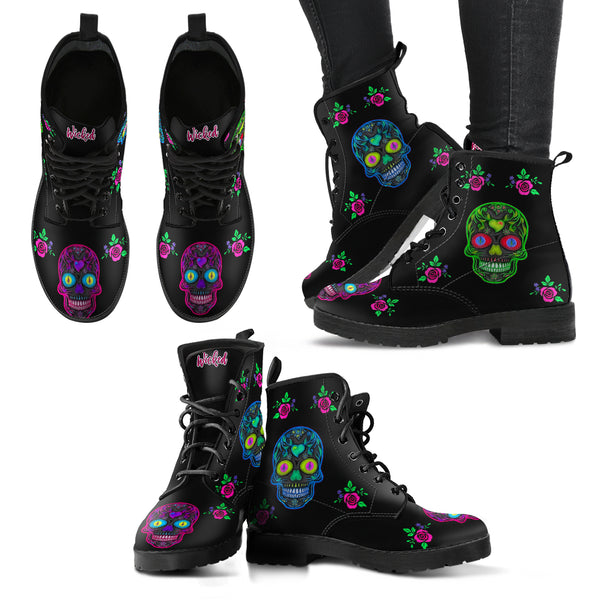Wicked Skulls Leather Boots in Men's and Women's Sizes