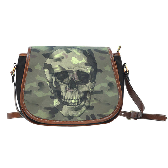 Camo Skull Black Canvas Leather Trim Saddle Bag