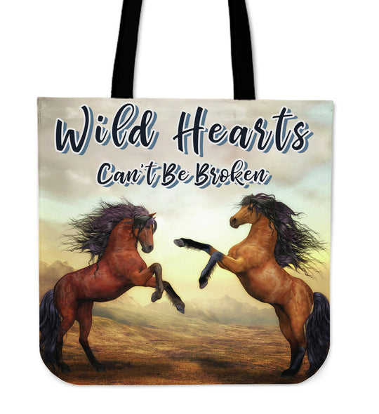 Wild Hearts Can't Be Broken Tote Bag for Horse Lovers