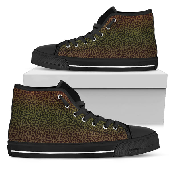 Camo Chameleon Modern Camouflage High Top Shoes Black or White in Women's & Men's Sizes