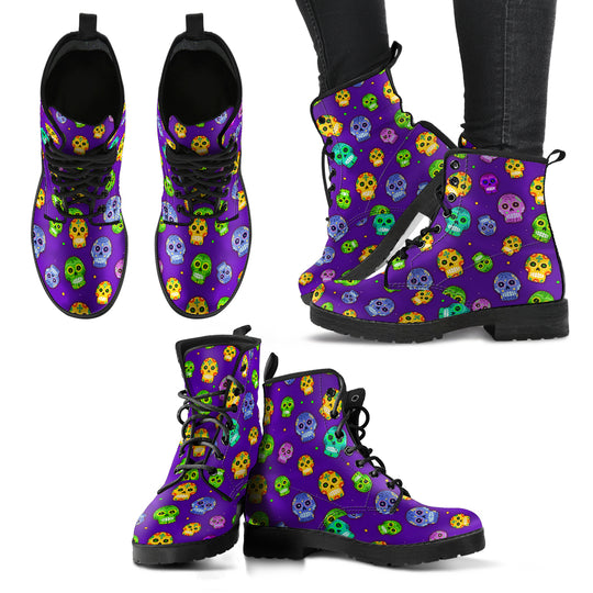 Muerto Sugar Skulls Vegan Leather Boots in Sizes for Men & Women