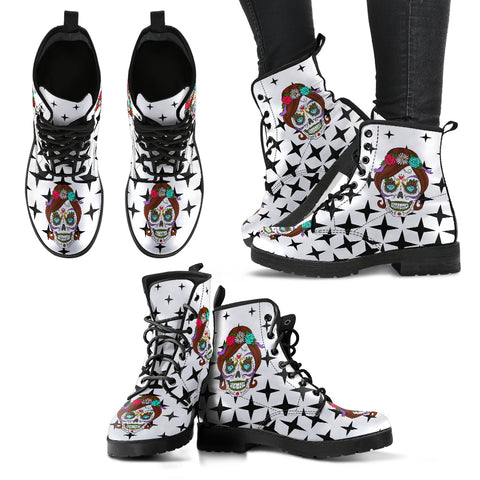 Lady Skull Women's Vegan Leather Boots
