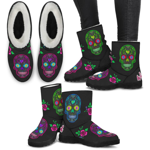 Wicked Skulls Faux Fur Boots!