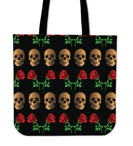 Roses and Skulls Tote Bag for Skull Lovers