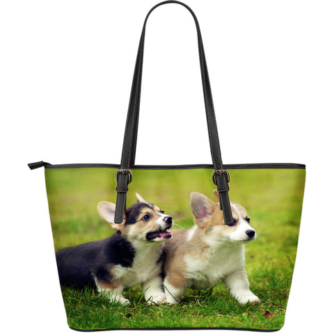 Corgi Dog Large Leather Tote Bag for Lovers of Corgis