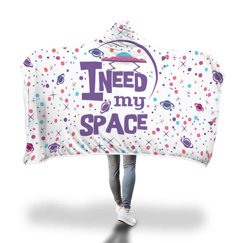 I Need My Space Hooded Blankets Sherpa Hoodies (White)