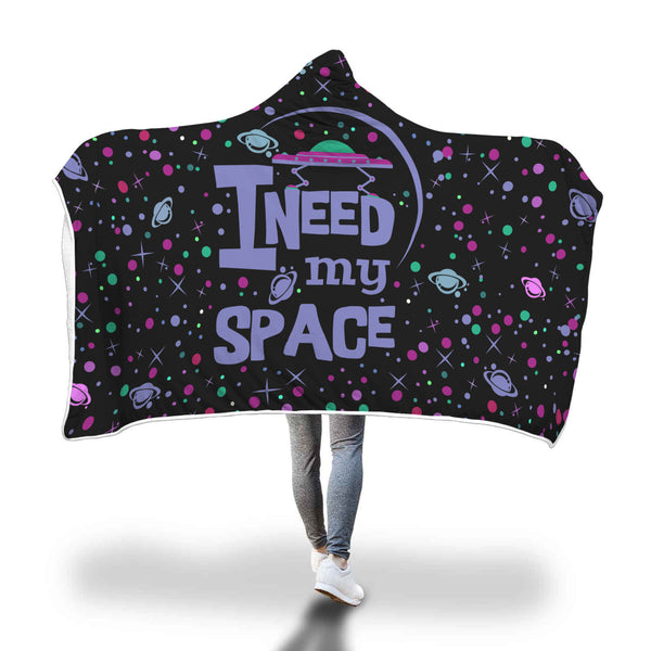 I Need My Space Hooded Blankets Sherpa Hoodies (Black)