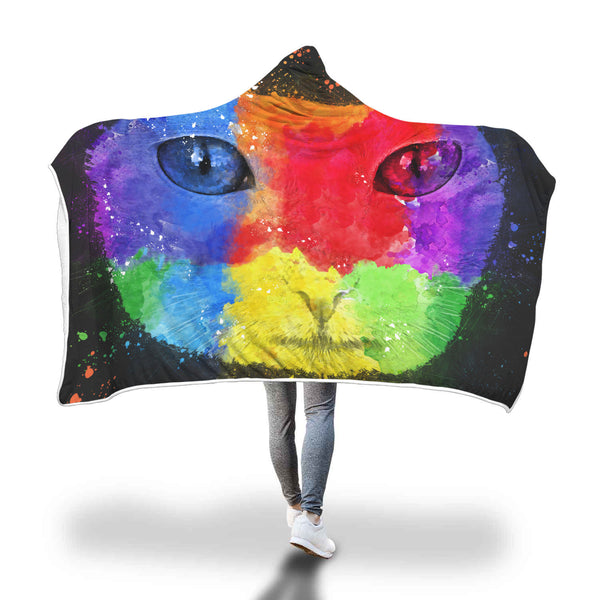 Artsy Cat Hooded Blankets Sherpa Hoodies