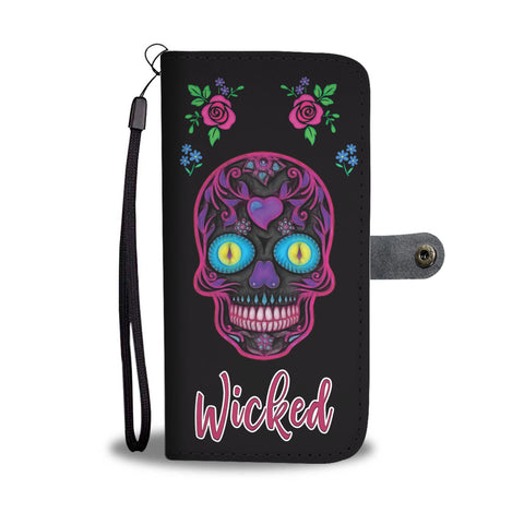 Wicked Skulls Wallet Phone Case with Roses and Sugar Skull Art