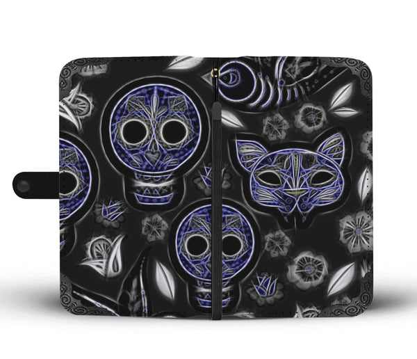 Fractal Cat Bird and Skulls Wallet Phone Case