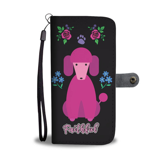 Faithful Pink Poodle Dog Wallet Phone Case