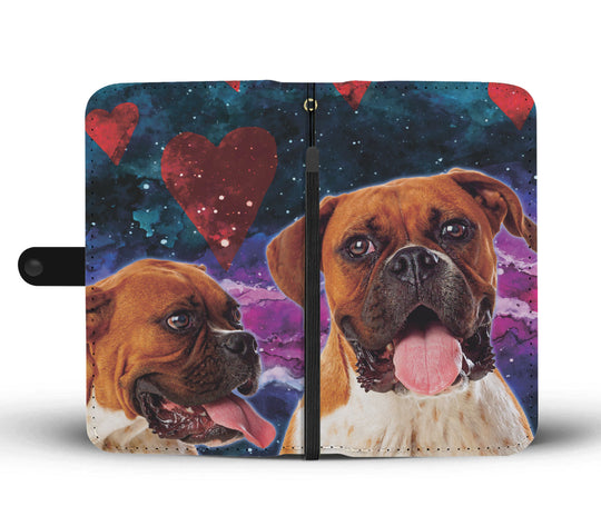 Boxer Dog Hearts Wallet Phone Case for Lovers of Boxers